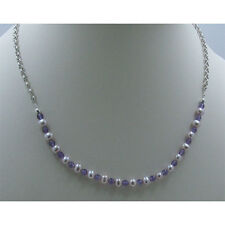 .925 Sterling Silver Natural Pink Pearl Purple Amethyst Chain Necklace