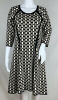 Dress Barn Fit And Flare Sweater Dress Black Ivory Panel Seamed Stretch Size XLP