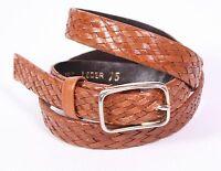 G371 C&A Damen Gürtel Flechtgürtel Leder schmal braun 75 cm Boho Vintage