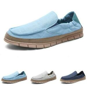 Mens Flats Canvas Pumps Slip on Loafers Shoes Driving Moccasins Walking Sports D
