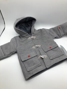 baby boys hooded winter coat grey  red trim lined Christmas Xmas Gift
