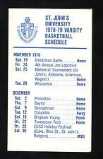 St John's Redmen--1978-79 Basketball Pocket Schedule--Manufacturers Hanover