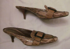 COLE HAAN snake python leather front lucite buckle slides kitten heel shoes 7 B