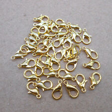 50Pcs Gold plated Lobster Claw Clasps Hooks Findings DIY 12mm