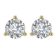 Solitaire Studs Earrings Martini Set SI1 G 0.65 Carat Round Cut Diamond 14K Gold