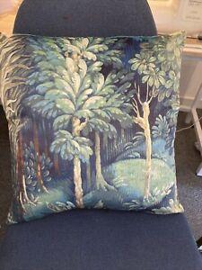 "Prestigious Forbidden Forest Cushion Cover 18"" Designer Fabric Velour Teal Green"