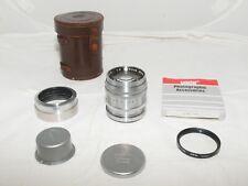 Nikon Nikkor 8.5cm f2 telephoto lens in Nikon S RF Mount. With hood & front cap.