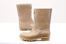 .NWOB $1895 Brunello Cucinelli Leather Tan Rubber Mid-Calf Boots Size 37/7 US