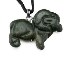 Pendant Hand Carved Stone Necklace Totem Green Moss Agate Ram Gemstone Animal