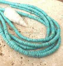 """Natural Turquoise Mexican Sonora  Heishi Bead Strand 4 MM Stabilized 16"""""""