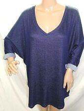 Femme by Tresics Women Plus Size 2x Denim Jeans Style Blue Sweater Tunic Top