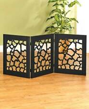 Die Cut Pet Gate Indoor Wood 3 Panel Black Adjustable Dog Barrier Gates Wooden