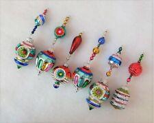 Radko Shiny Brite Reflector Xmas Vtg Mercury Glass Bead Icicle Garland Ornaments
