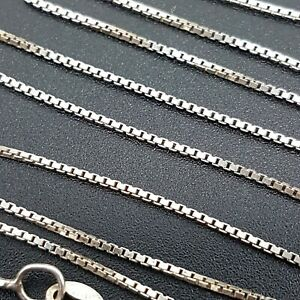 Vintage Sterling Silver 1mm Box Link Chain Necklace Ideal - Pendants - 16 inch -