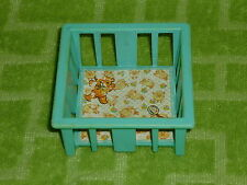 Fisher Price Little People Vintage Nursery Blue Play Pen Playpen Crib Baby Bed