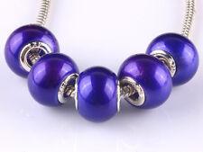 HOT 20pcs silver pearl big hole spacer beads fit Charm European Bracelet DIY