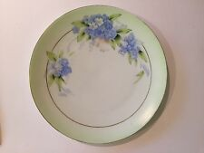 """PT Early Tirschenreuth Hand Painted Plate Signed Rosch Blue Floral Bavaria 8.5"""""""