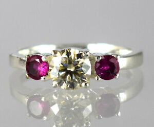 Champagne Diamond Halo Solitaire With Rubies Accents Ring 2.58 Ct Wedding Gift