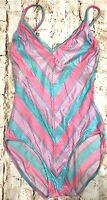 Vtg 80s Shimmer Pastel Stripe Union Made USA Bathing Swim Suit Swimsuit Women 6