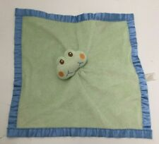 Nursery Rhymes Baby Lovey Green Plush Frog Rattle Blue Satin Trim Lots of Snags