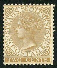 Straits Settlements SG50 2c Brown Wmk Crown CA Mint (no gum) cat 375 pounds