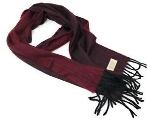 100% Cashmere Scarf - Burgundy/Black Reversible -  Made in Scotland