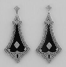 Art Deco Style Black Onyx Filigree Earrings with Diamond - Sterling Silver