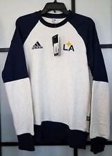 LA Galaxy adidas Culture Crew Sweatshirt - White/Navy Mens Size Small