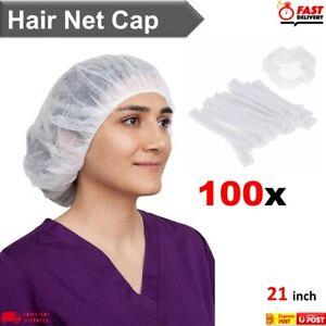 Hairnet Dust Head Cover Non Woven Stretch Hat Disposable Hair Net Caps 100 Pcs