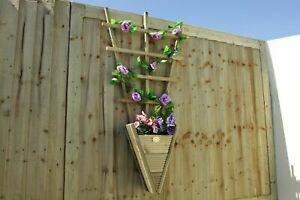 Hanging Planter W/ Trellis Fence - Wooden Herb Flower Pot Climber - Decking