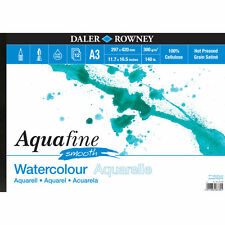 DALER ROWNEY A3 AQUAFINE SMOOTH LANDSCAPE WATERCOLOUR PAD 300gsm HOT PRESSED