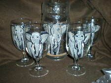 HAND PAINTED GRAY ELEPHANTS ON WATER PITCHER AND 4 ICE TEA  GLASSES SET