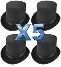 5 x BLACK TOP HAT TALL LINCOLN RINGMASTER MAGICIAN STAG NIGHT FANCY DRESS QR0023