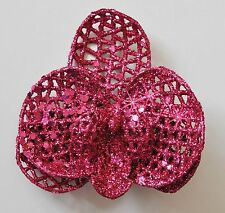 "3"" Hot Pink Sparkle Glitter Orchid Hair Clip Holiday Special Occasion Christmas"