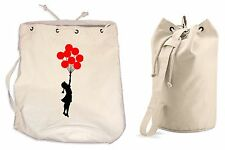 BANKSY BALLOON GIRL DUFFLE BAG College Rucksack Gym Beach Balloons