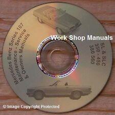 Mercedes Benz R107-SL C107-SLC Owners, Shop & Repair Manuals CD DVD 380 450 560