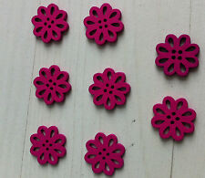 8 beads wooden buttons pink flower violet 0 19/32in