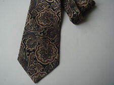 § cravate 100% SOIE homme fond noir impression style cachemire CR22