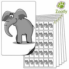 480 Elephant Stickers (38 x 21mm) Quality Self Adhesive Animal Labels By Zooify.