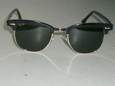 1980's 49[]21mm VINTAGE B&L RAY-BAN W0365 BLACK/GOLD G15 CLUBMASTER SUNGLASSES