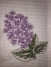 Embroidered White Kitchen Bar Hand Towel BS0956 Sketched Lavender Lilac Flower