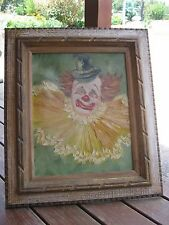 Vintage Clown Oil Painting and very nice wood frame