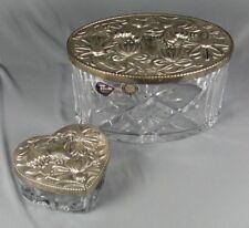 2 Pc Set Royal Brierley Crystal Jars Silver Plate Lids
