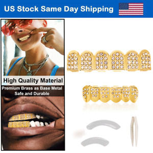 18K Custom Grillz Teeth Mouth Caps Top Bottom Gold Plated Bling Grills Fangs Set