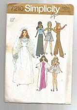 """Simplicity #7210 BarbieChristieDustyP.J. 11 1/2""""DOLLS Bride*Caftan*Overalls©1975"""