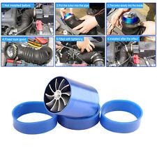 Blue Air Intake Turbonator Dual Fan Turbine Gas Fuel Saver Turbo Supercharger