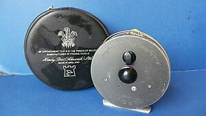 """Vintage Hardy Bros Marquis 7 Fly Fishing Reel + Bag England 3.62""""  9.2cms"""
