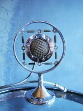 Vintage 1920's RARE Lifetime Corp model 50 spring microphone w desk stand old