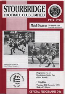 Saddlers : Birmingham Senior Cup - Stourbridge v Walsall 1994 1994/95