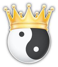 Yin Yang Golden Crown Car Bumper Sticker Decal 4'' x 5''